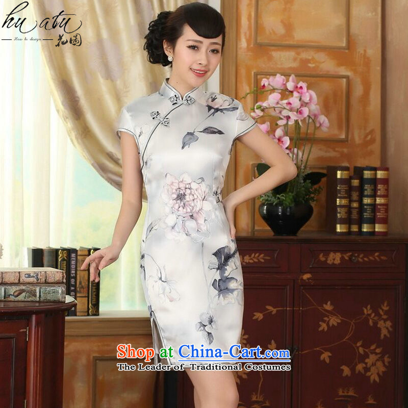 Figure for summer flowers female lilies Sau San heavyweight silk dresses retro improved herbs extract light short skirt color as shown qipao?2XL