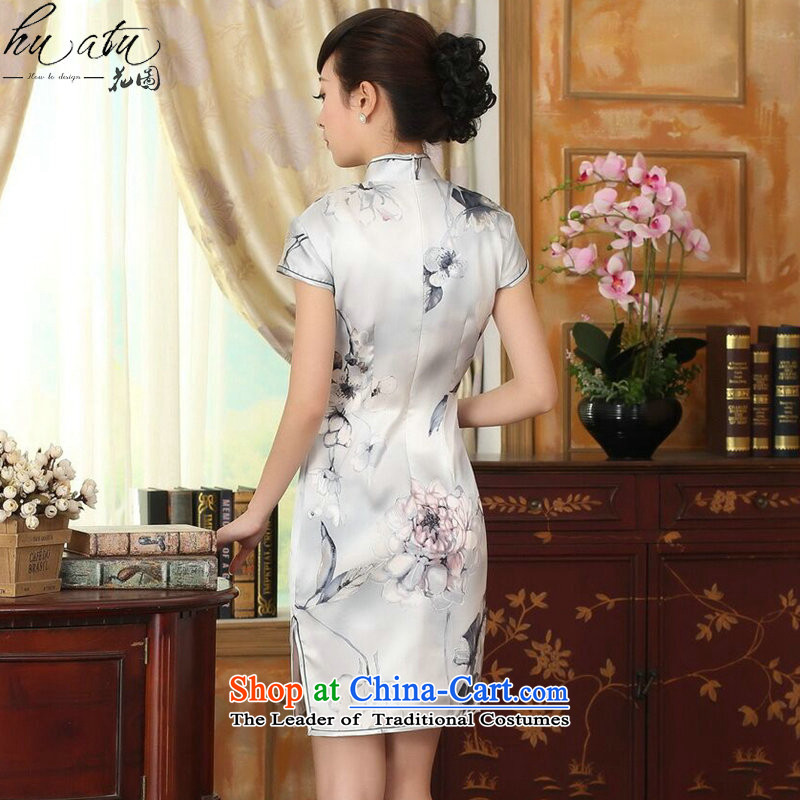Figure for summer flowers female lilies Sau San heavyweight silk dresses retro improved herbs extract light short skirt color as shown qipao聽2XL, floral shopping on the Internet has been pressed.