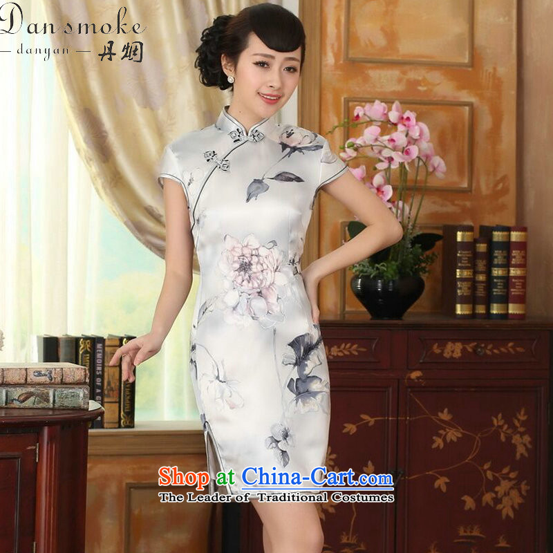 Dan smoke summer female lilies Sau San heavyweight silk dresses retro improved herbs extract light short skirt color as shown qipao聽2XL