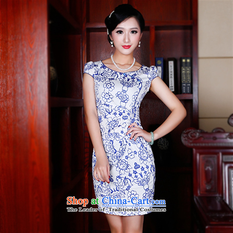 After a?2015 Summer wind new retro fresh ethnic improved qipao Sau San round-neck collar qipao 5404 5404 suit?XXL