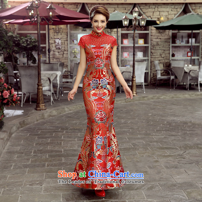 The first white into about?2015 New Chinese Antique red bows to the bride of Sau San sexy qipao gown dragon robe crowsfoot long length?L