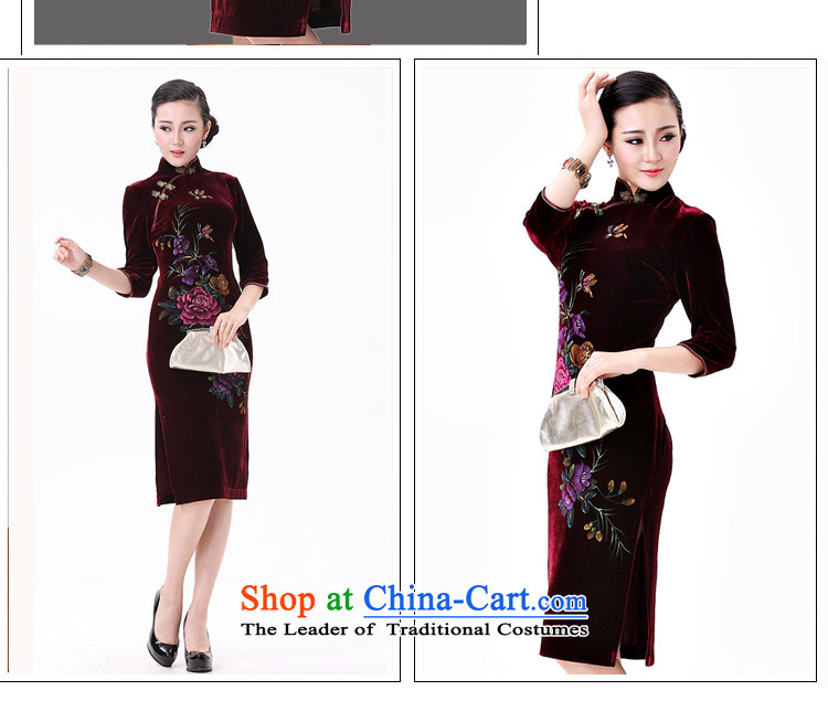 The OSCE long-sleeved stream. Kim scouring pads hand-painted cheongsam peony flowers in older mother married replacing Tang dynasty聽AQE8868 dress聽in wine red sleeved聽S picture, prices, brand platters! The elections are supplied in the national character of distribution, so action, buy now enjoy more preferential! As soon as possible.