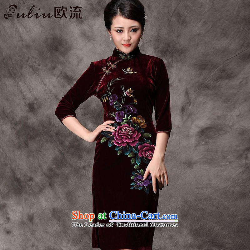 The OSCE long-sleeved stream. Kim scouring pads hand-painted cheongsam peony flowers in older mother married replacing Tang dynasty AQE8868 dress in wine red sleeved S