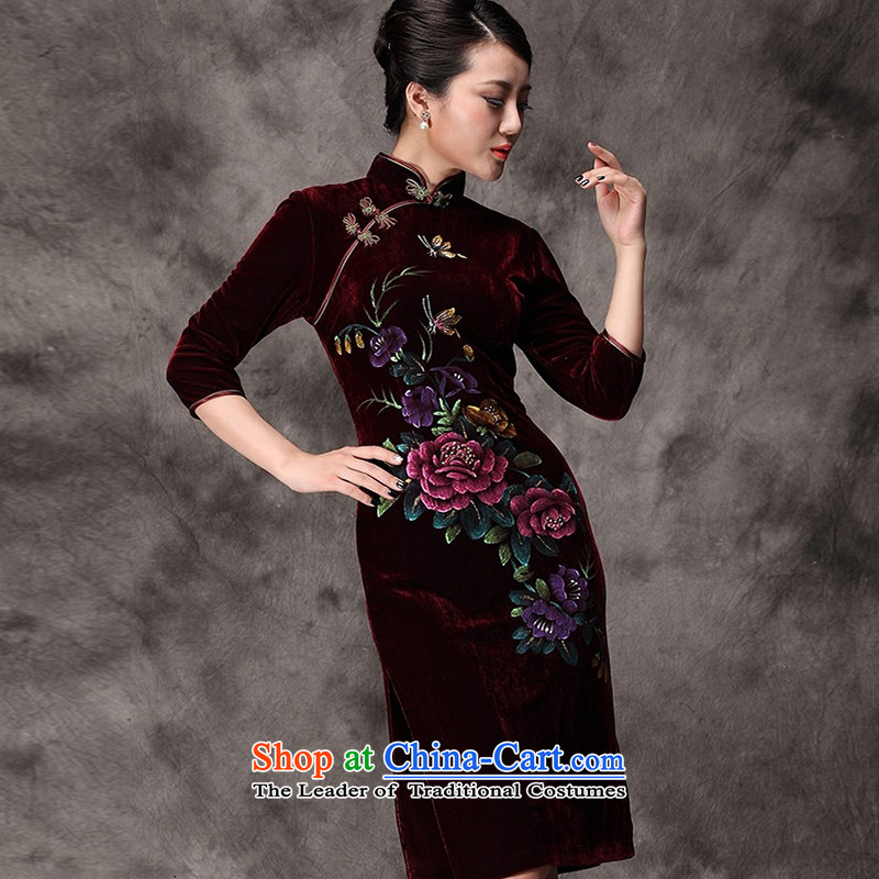The OSCE long-sleeved stream. Kim scouring pads hand-painted cheongsam peony flowers in older mother married replacing Tang dynasty聽AQE8868 dress聽in wine red sleeved聽S, Europe Stream (OULIU) , , , shopping on the Internet