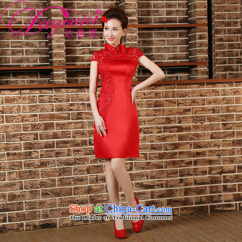 However Service Bridal cheongsam dress 2015 new spring and summer red retro short of Sau San marriages cheongsam red XL