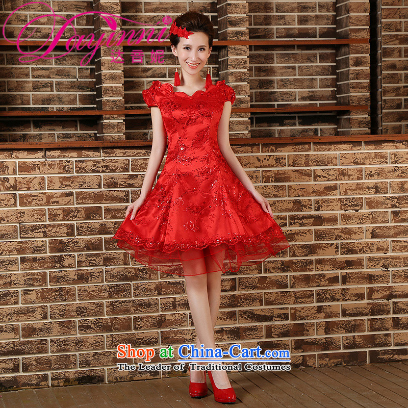 The bride bows to marry the spring of qipao short long-sleeved wedding dresses dresses 2015 New Red?S