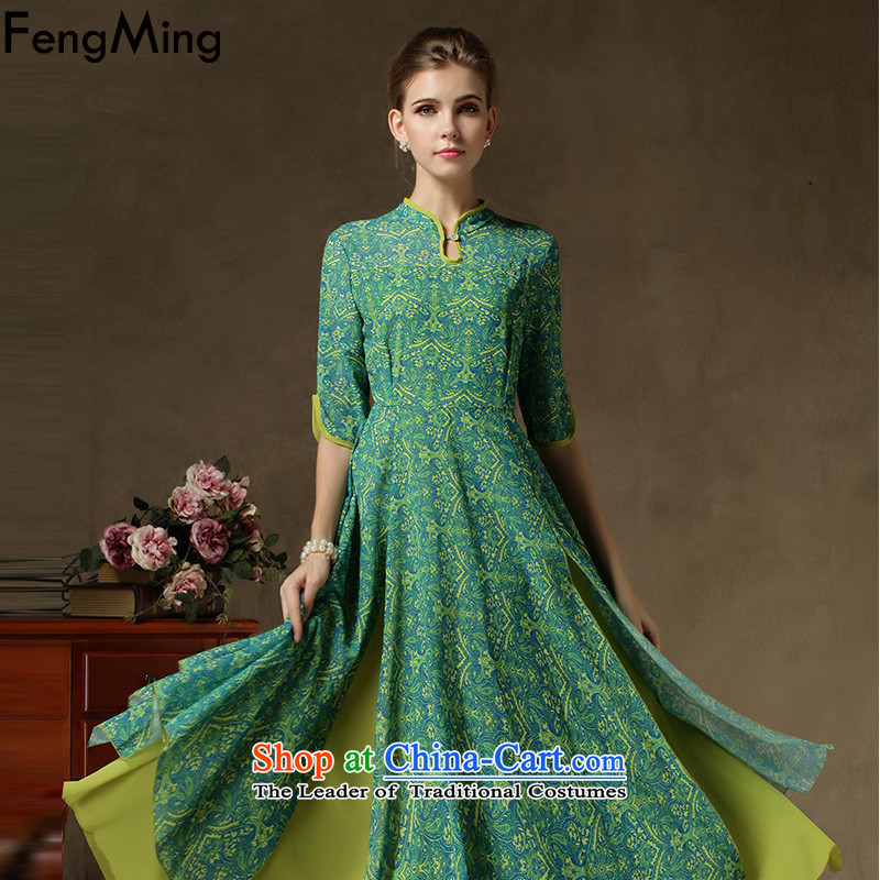 The spring and summer of 2015, Ming Fung new improved cheongsam, Penthouse Multi Chip petticoats chiffon dresses female green leave two kits XL