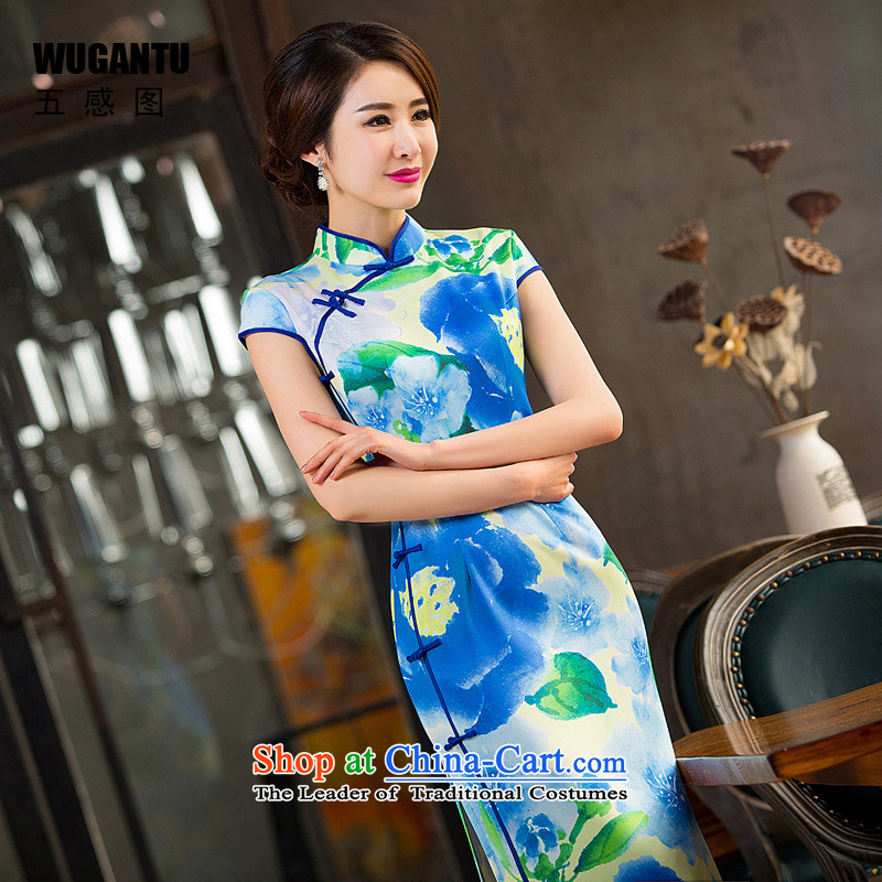 The five senses the spring and summer 2015 figure Ms. new stylish improved sexy Qipao Length cheongsam dress WGT237 Sau San picture color 237 M