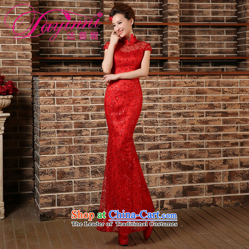 Crowsfoot Mock-neck cheongsam red bows to Chinese marriages yarn long Sau San evening dress short-sleeved blouses and red XL