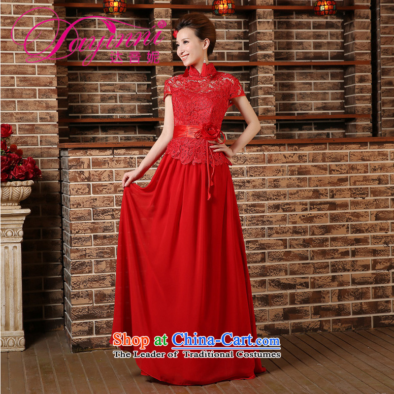 2015 new bride red short-sleeved clothing bows short-sleeved stylish long marriage cheongsam dress Sau San spring and summer red XL