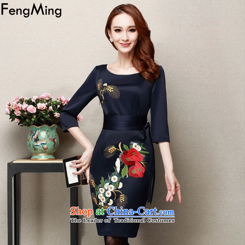 燭he spring and summer of 2015, Ming Fung new dinner dress qipao girl mothers with large embroidered dress navy燤