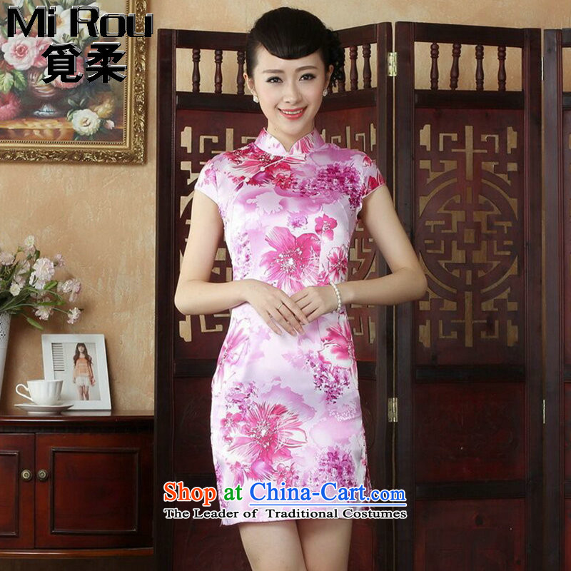 Find the new summer Sophie female qipao Chinese improved Mock-neck stamp is traversed by the elegant qipao short skirts damask Figure Color S
