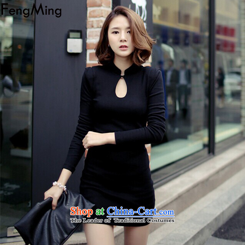 Hsbc Holdings plc Ming black cheongsam female爊ew autumn and winter 2015 Sau San video and sexy thin package forming the long-sleeved black skirt燬