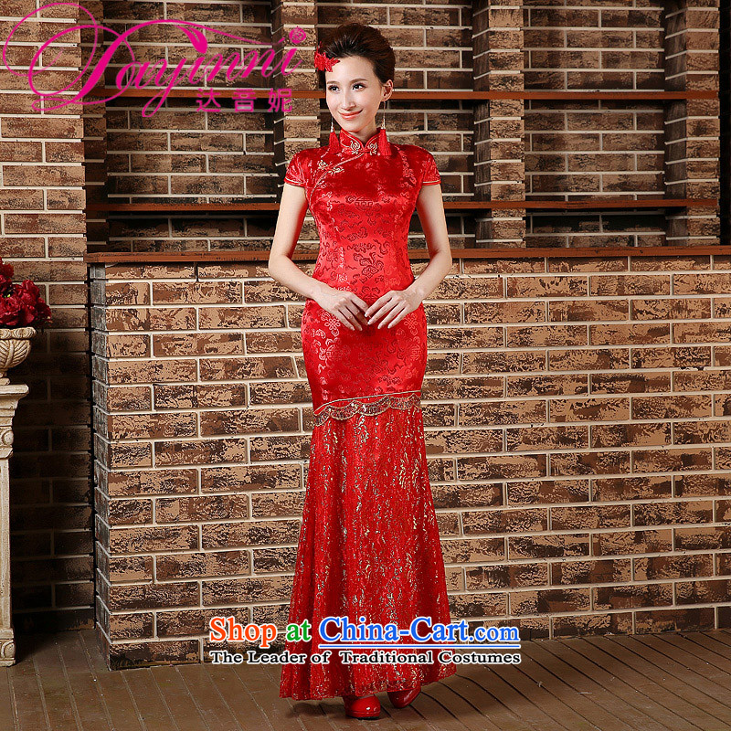Toasting champagne served qipao marriages crowsfoot long wedding retro improved 2015 Spring, Phoenix wedding dresses red?S