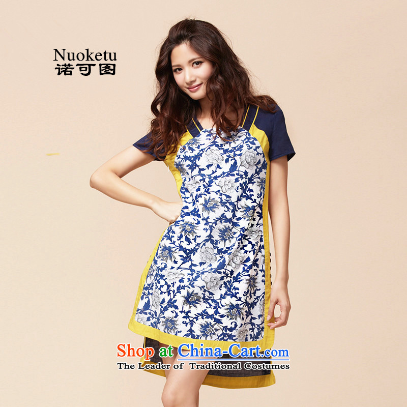 The?2015 summer to new original cotton linen Liberal Women's large ethnic antique porcelain improved daily cheongsam dress blue?S