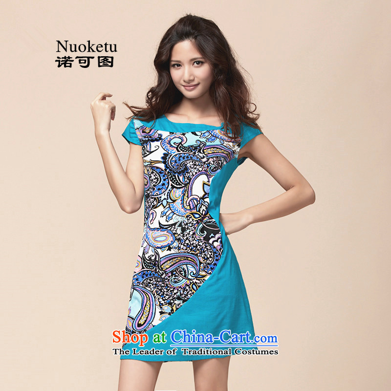 The?2015 summer to new original large ethnic Ms. cheongsam dress short skirts of fresh small light blue?XXL