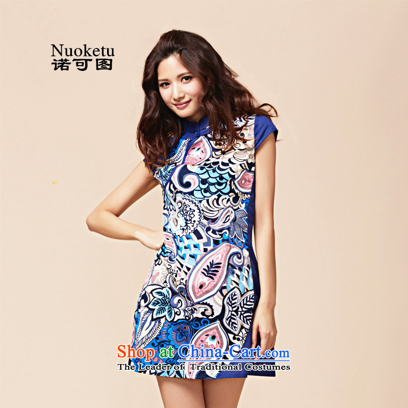 The�15 summer to new original short-sleeved retro ethnic stylish short of major improvements to-day qipao code dresses blue燲L