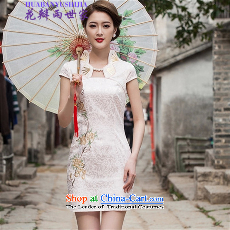 Saga 2015 summer rain petals stylish improved cheongsam dress 518-1122-55 China White燬