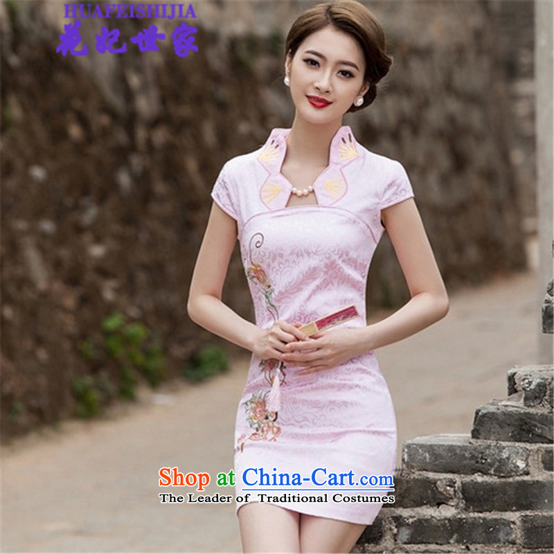 Spend the? summer of 2015, Family and stylish princess improved cheongsam dress Wah 518-1122-55 pink?M