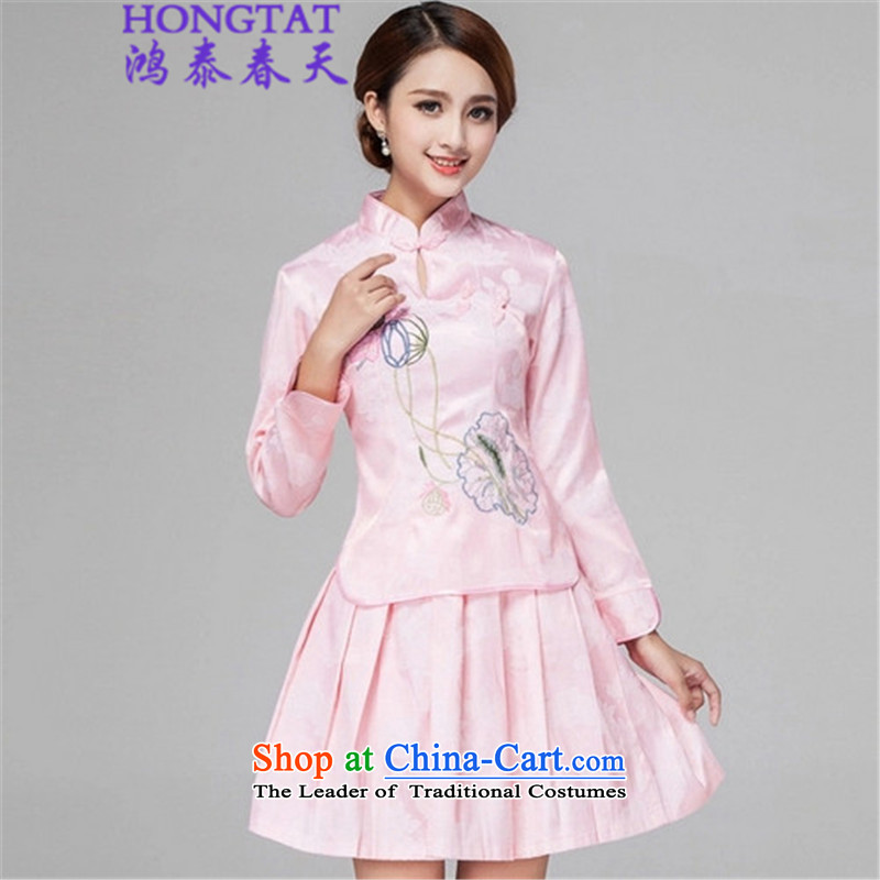 In the spring of� 2015 Summer Hong Tai Long-sleeved retro style qipao two Kit Wah 518-1121-60 pink燤