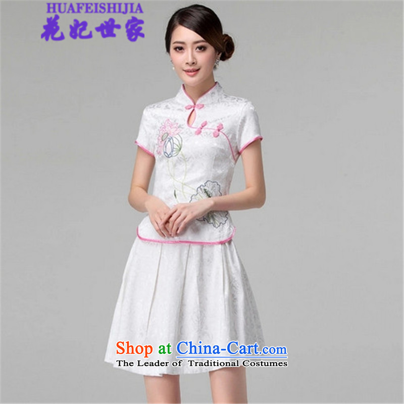 Spend the� summer of 2015, Saga Furs of Princess retro style qipao long-sleeved two Kit Wah 518-1121-60 white�S