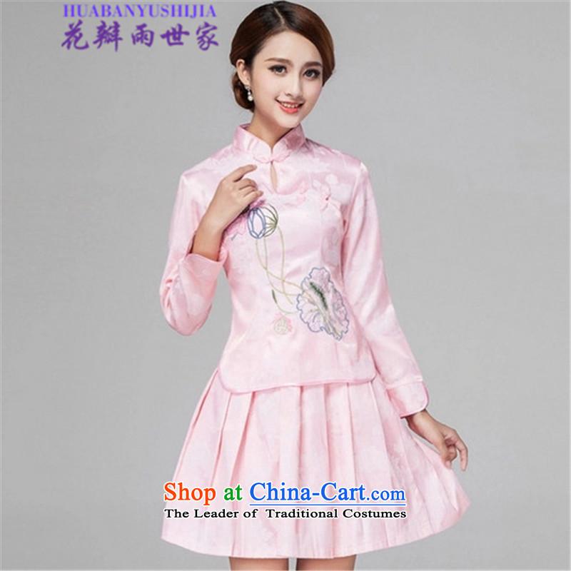 Saga� 2015 summer rain petals retro style qipao long-sleeved two Kit Wah 518-1121-60 pink燬