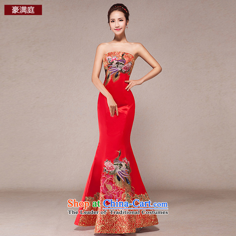 Wedding dress long drink red qipao Sau San Wipe Services Chest Sau San package and wedding banquet dress spring bride red S