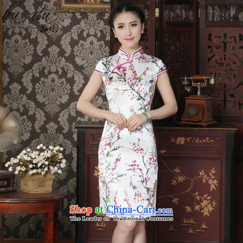 Women's Summer floral sauna Silk Cheongsam heavyweight silk Chinese improved Mock-neck qipao suit daily figure color燬 Cheongsam