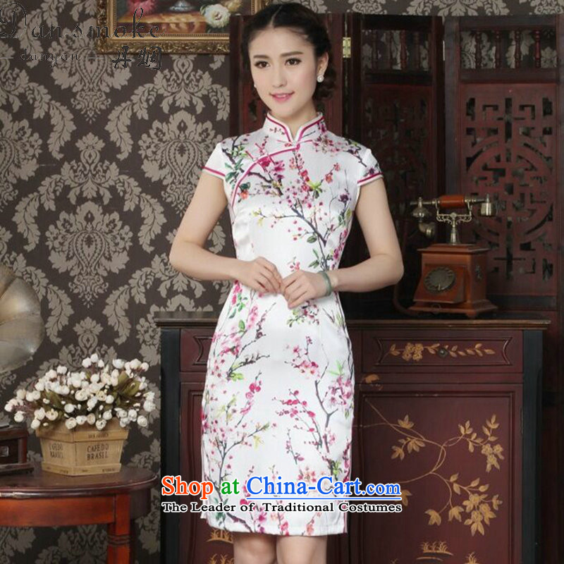 Dan smoke summer female sauna Silk Cheongsam heavyweight silk Chinese improved Mock-neck qipao suit daily figure color聽M Cheongsam