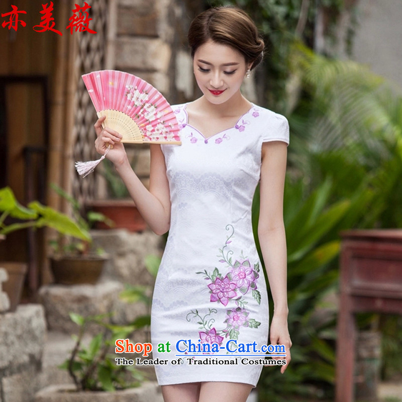 Matami燬ummer 2015 Hon Audrey Eu new retro embroidery cheongsam dress map color燤