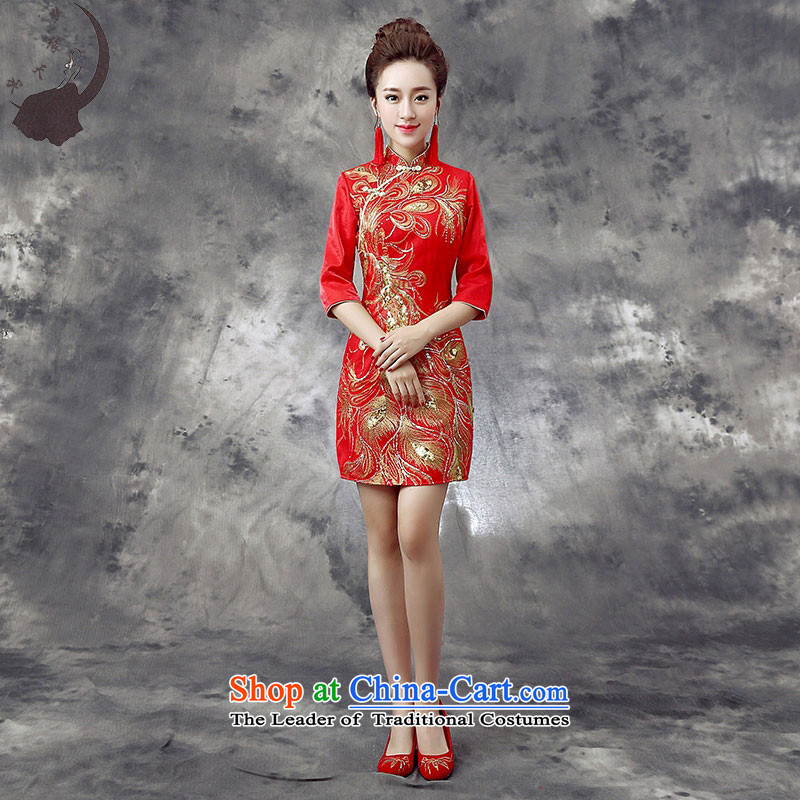 The leading edge of the days of qipao skirt the new 2015 bows cheongsam wedding dress bridal dresses bows back to door Fall/Winter Collections Q865 RED L