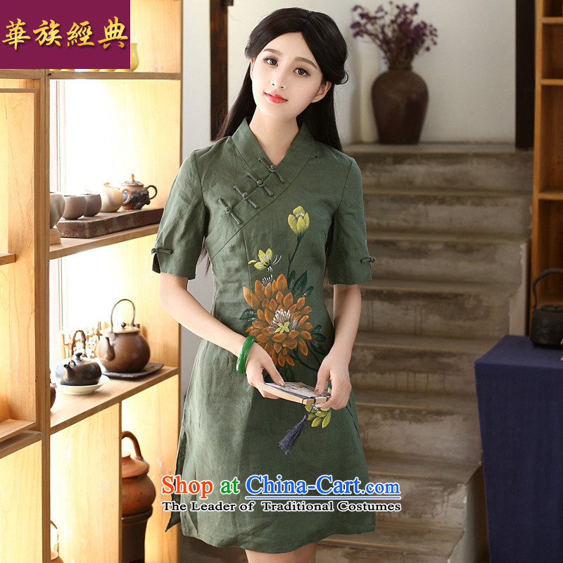 Chinese New Year 2015 classic ethnic summer Ms. cheongsam dress daily retro improved arts van hand-painted green cotton linen XL