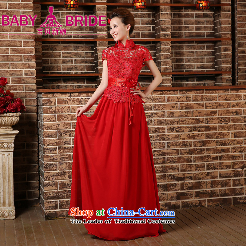 2015 new bride red short-sleeved clothing bows short-sleeved stylish long marriage cheongsam dress Sau San spring and summer RED M
