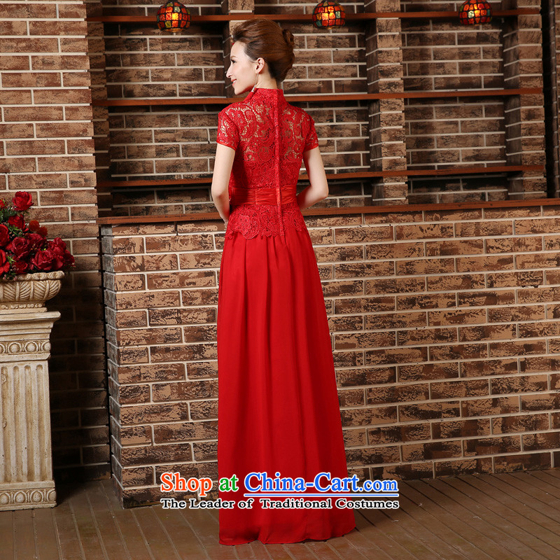 2015 new bride red short-sleeved clothing bows short-sleeved stylish long marriage cheongsam dress Sau San spring and summer RED聽M, darling Bride (BABY BPIDEB) , , , shopping on the Internet