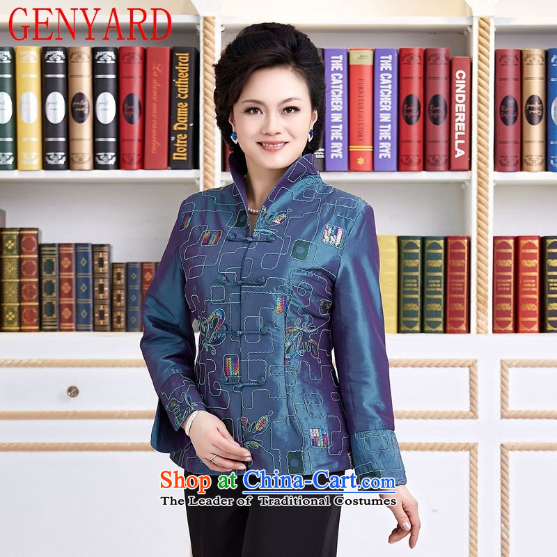 New Spring and Autumn load GENYARD female Tang dynasty of ethnic Chinese China wind embroidered long-sleeved Ms. XXXXL red T-shirt Teahouse