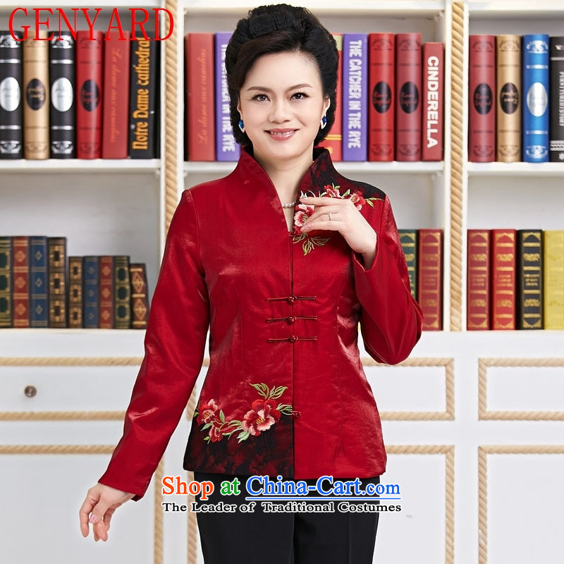 Ms. Tang dynasty GENYARD spring and autumn installed China wind long-sleeved blouses and stylish modern TANG Sau San women's clothing red燲XXL Annual Meeting