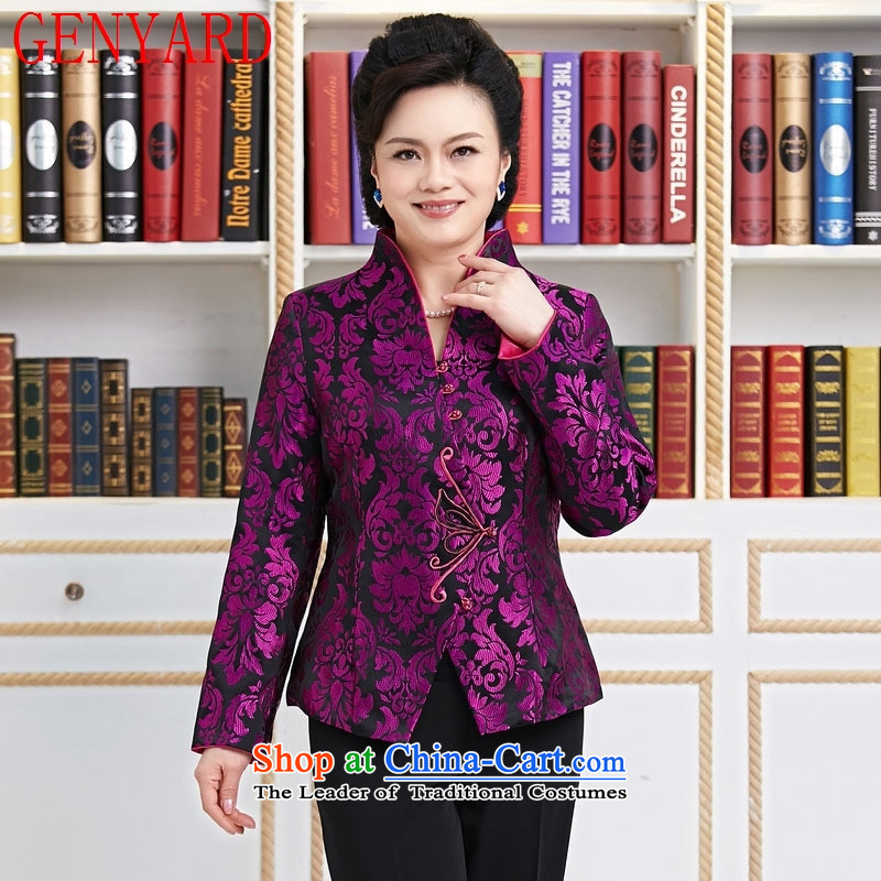 Ms. GENYARD Tang dynasty long-sleeved shirt, temperament mother who decorated older spring and autumn jacket coat purple聽XXXL Purple