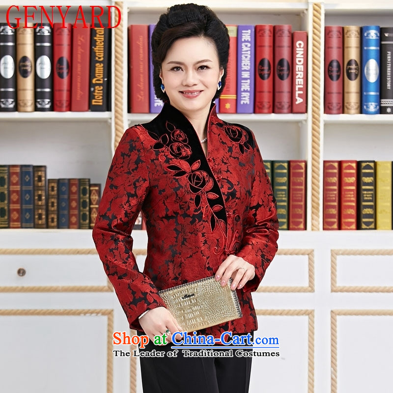 Deloitte Touche Tohmatsu trade shop embroidered short, long-sleeved T-shirt female autumn and winter Chinese collar Tang Jacket coat cardigan red�L
