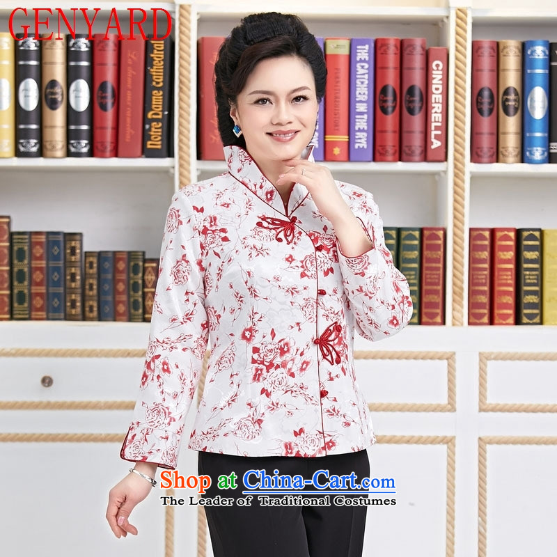 The hotel is inside workers in spring and autumn GENYARD service Tang Dynasty Chinese restaurant waiters female resident tea master clothing long-sleeved blue flowers XL