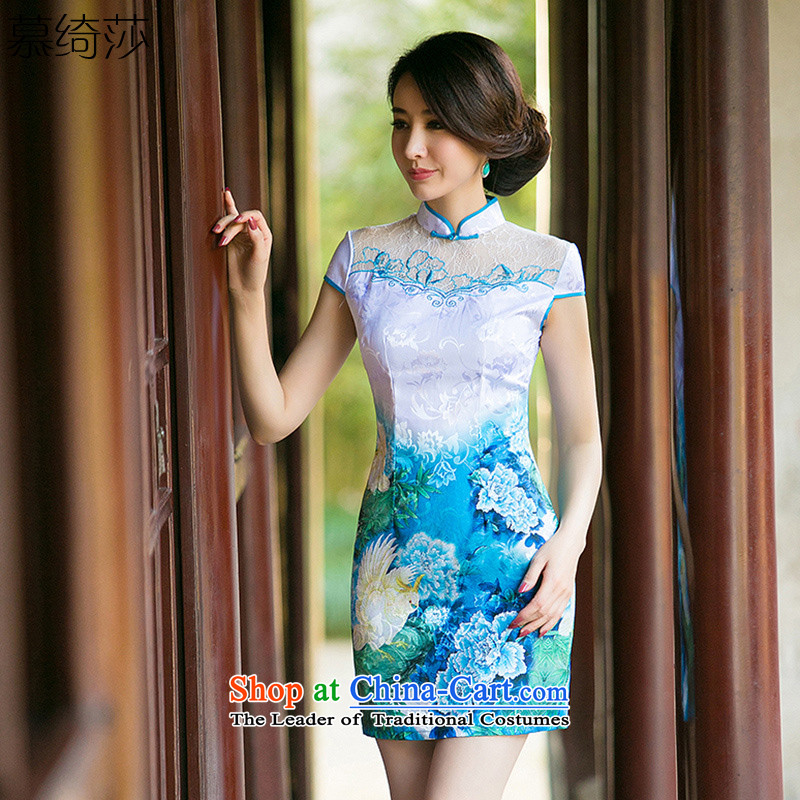 The cheer her light Arabic new lace cheongsam dress short-sleeved qipao gown Ms. retro stamp summer qipao ZA 001 Blue-Suit燤