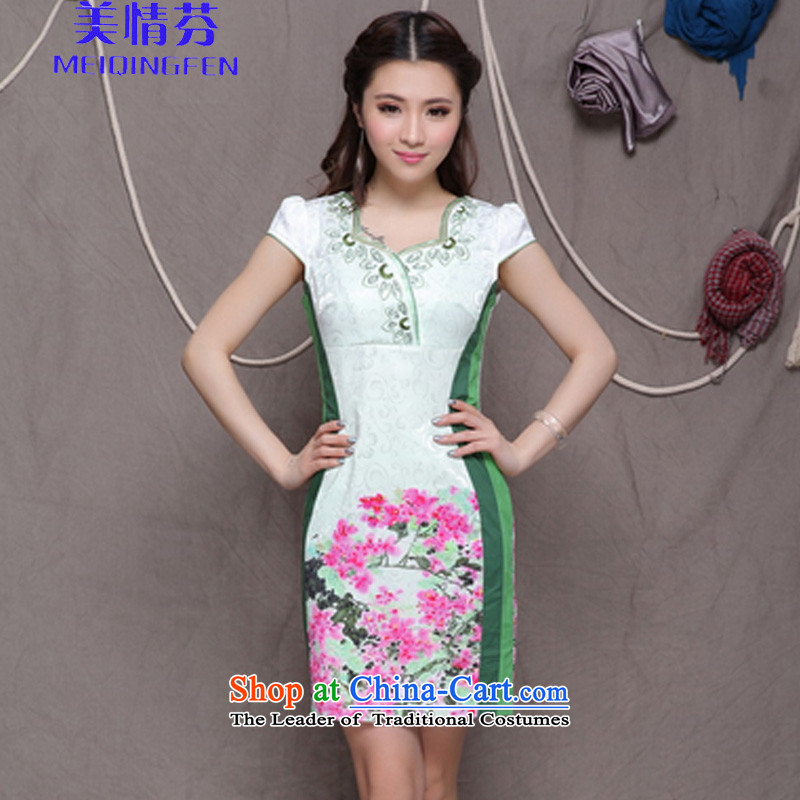 Macharm Fen    9906_ embroidery cheongsam ethnic Chinese cheongsam dress daily Stylish retro Sau San graphics build qipao green S