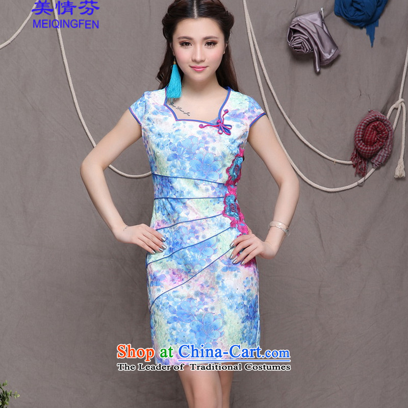 Macharm Fen  9905# China wind stylish ethnic refined elegance improved cheongsam dress blue L