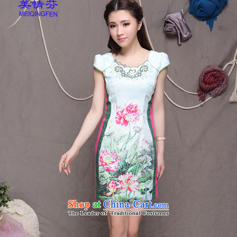Macharm Fen聽   9909_ China wind stylish ethnic refined elegance cheongsam dress improved picture color聽L