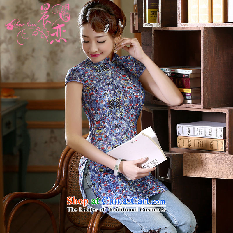 Morning new qipao Land summer short of improvement and Stylish retro CHINESE CHEONGSAM short-sleeved T-shirt OSCE root yarn embroidery blue聽XL