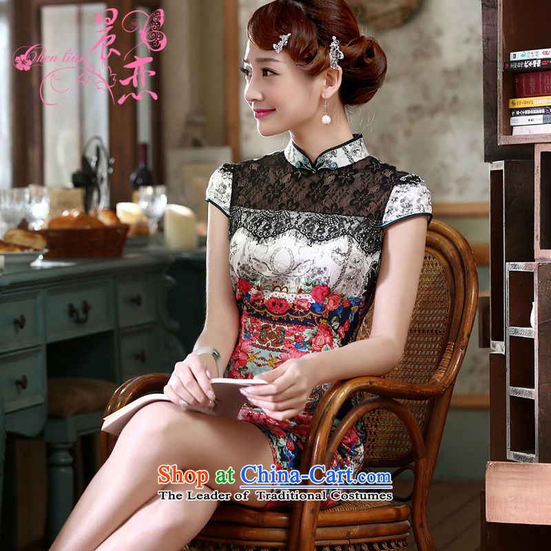 Morning new qipao land 2015 summer short of improvement and Stylish retro CHINESE CHEONGSAM video thin dresses Nga staff RED燤