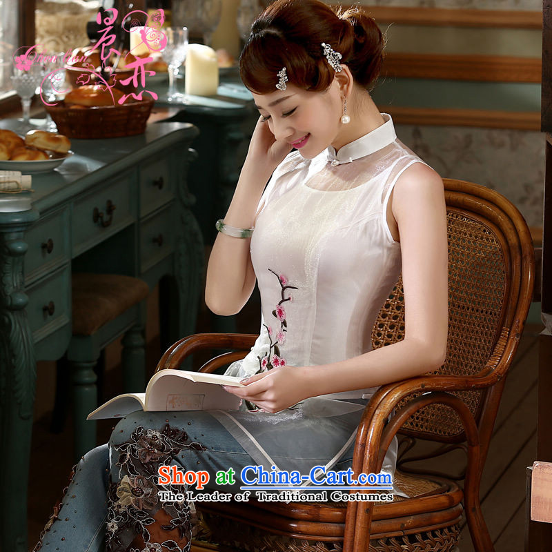 Morning new qipao Land summer short of improvement and Stylish retro CHINESE CHEONGSAM short-sleeved T-shirt OSCE root yarn embroidery White燲L