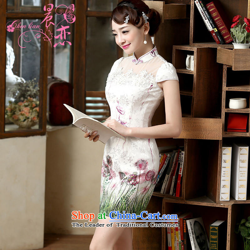 Land�15 New Morning Summer Stylish retro short of improved cheongsam dress Tang dynasty two-color pure light green燤