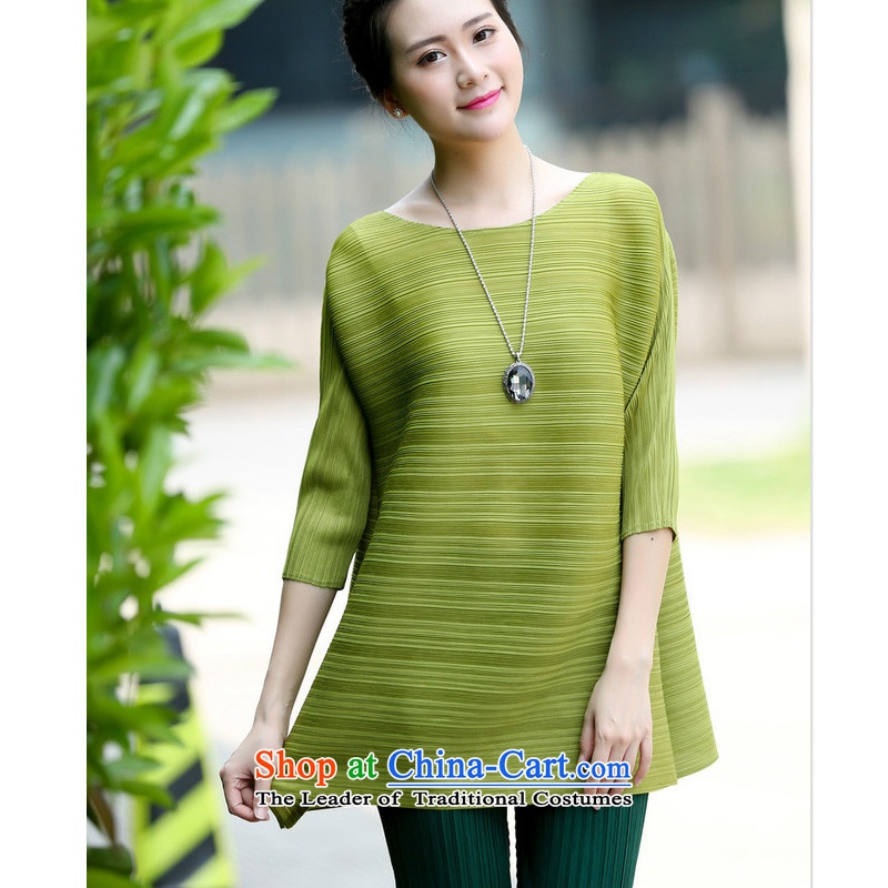 Forest Narcissus Summer 2015 New fifth cuff round-neck collar skirt swing under the Korean style liberal larger T-shirt shirt XYY-98024 beans are green code