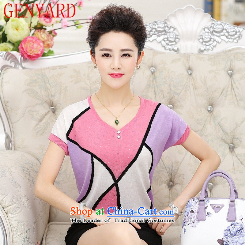 In the number of older women's GENYARD2015 new women's Knitwear large stylish middle-aged moms with a short-sleeved T-shirt Lake Blue�5