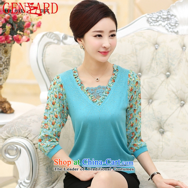 The elderly in the spring loaded GENYARD2015 new moms with lace chiffon 7-sleeved T-shirt with middle-aged female forming the top blue燲XXL Lake